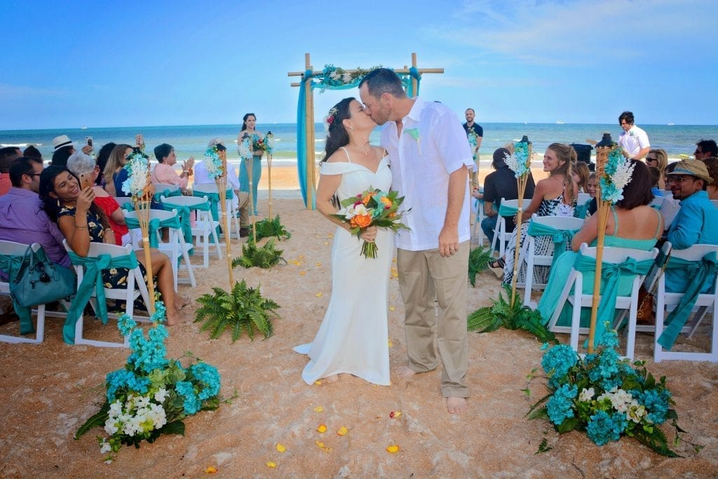 We present the newly married couple at this beautiful Teal Distinctive Package at a Florida Wedding on the beach.