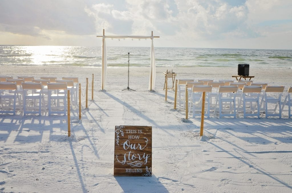 Clearwater Beach wedding with starfish on altar