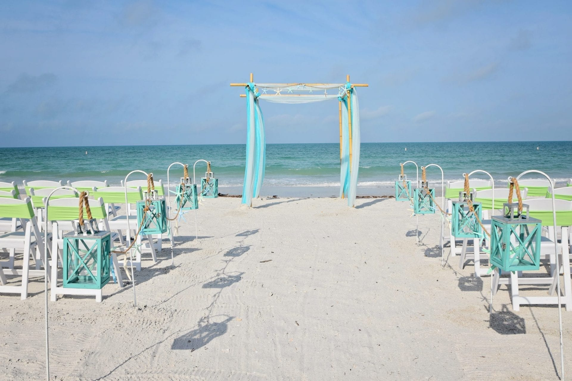Blue beach canopy for a Florida wedding
