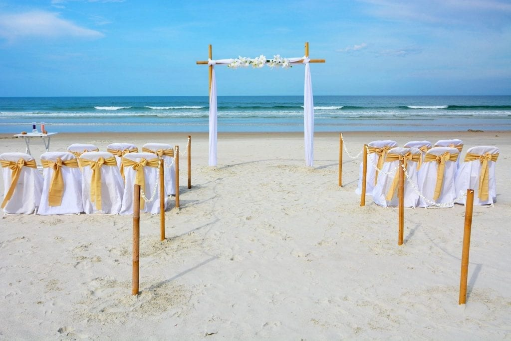 Bamboo wedding altar on Daytona Beach