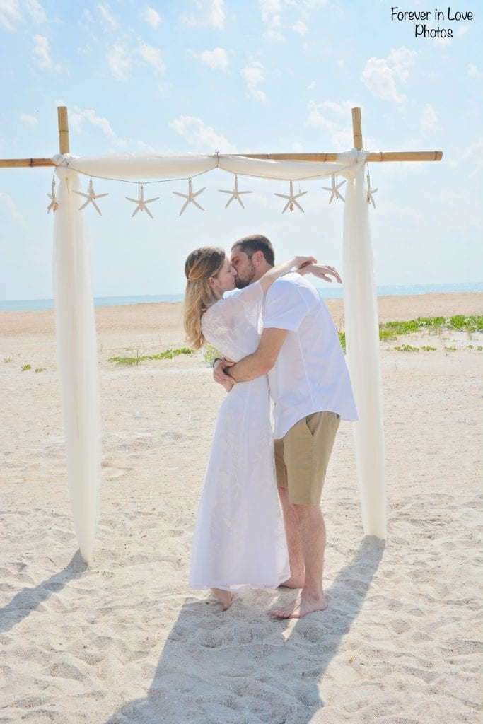 St. Augustine beach wedding packages with bamboo canopy in Florida.