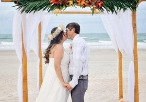 Amelia Island Beach Weddings with bamboo canopy, officiant and photographer. Our Amelia Island Beach Wedding elopements are all-inclusive.