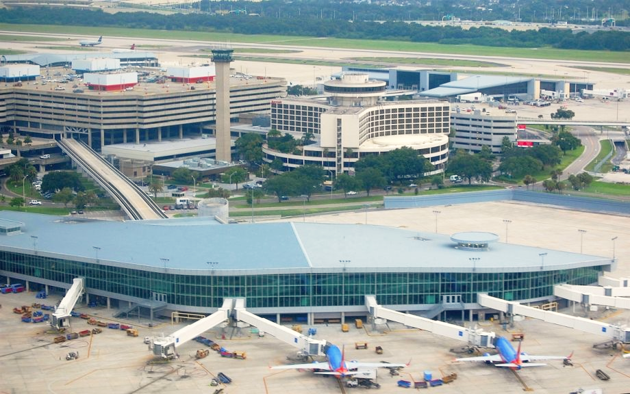Aerial shot of Tampa International Airport Florida