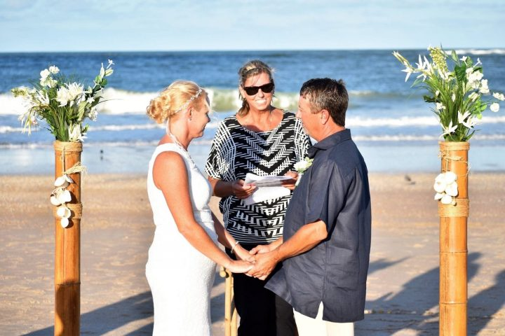 Pamela Fuit officiating a beach wedding