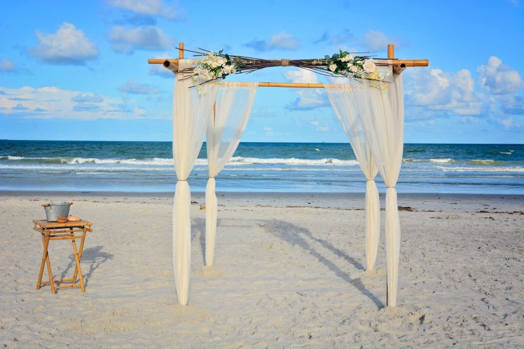 Natural beach wedding canopy for Florida beach elopement ceremonies