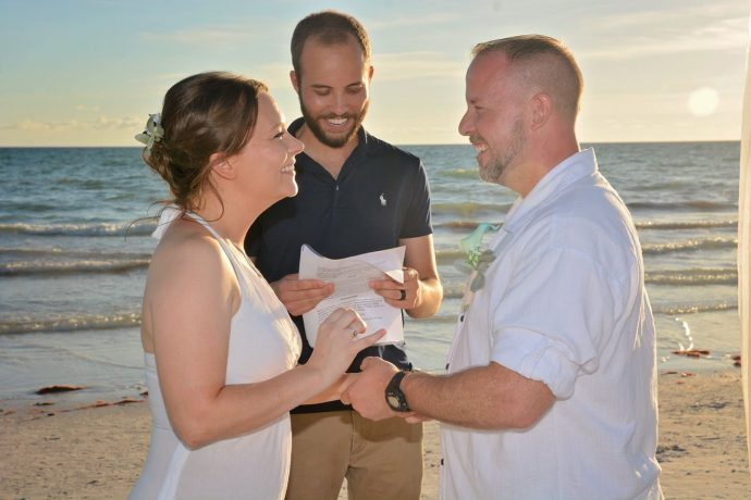 Couple ties the knot in Siesta Key on beach at sunset