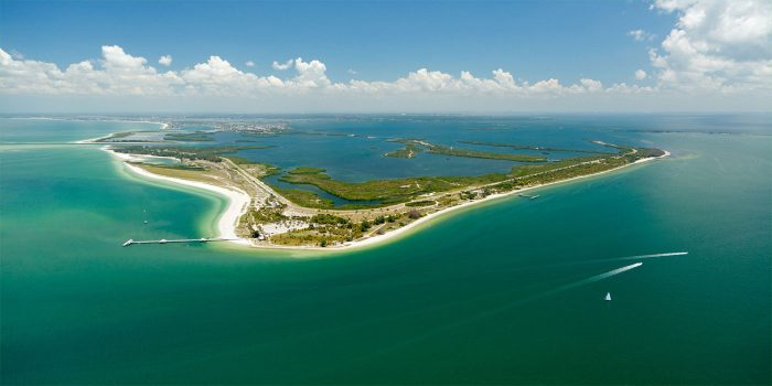Aerial view of St. Petersburg, Florida: Fort De Soto Park for weddings