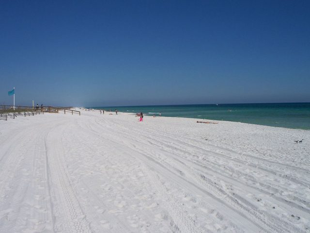 Sugar white sand on Navarre Beach, Florida