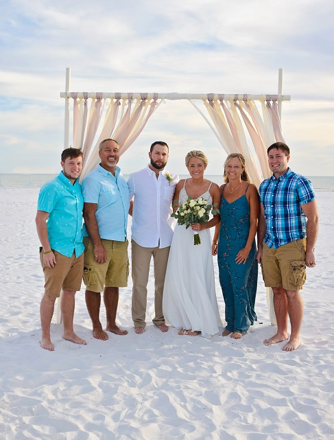 Siesta Bridal Party on the sand after wedding