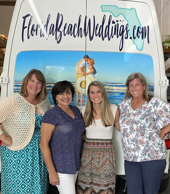 Florida Beach Weddings Staff in front of van