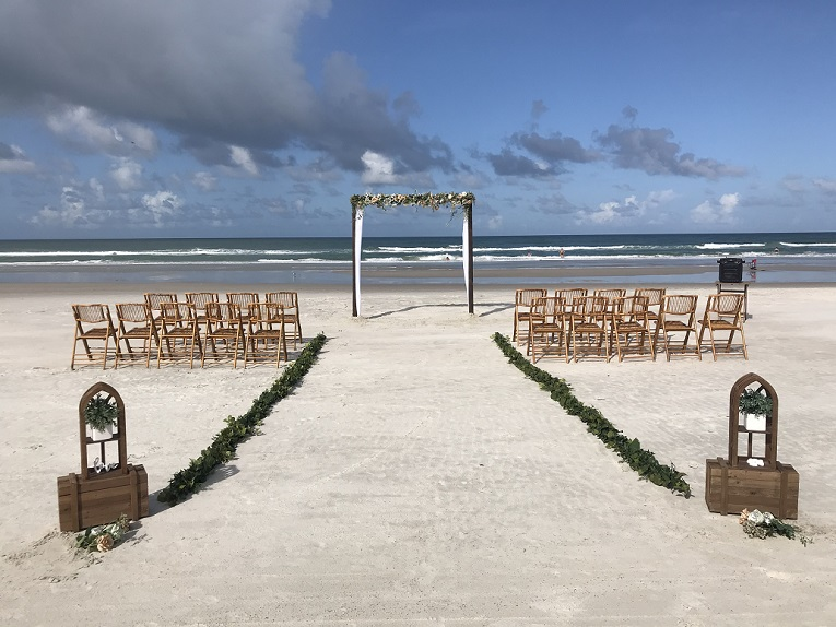 Romantic Bohemian Beach wedding decor in Daytona by the ocean