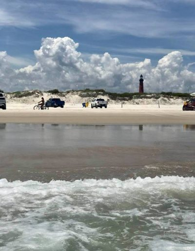Ponce Inlet beach parking view from ocean