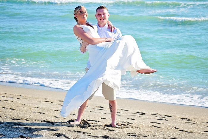 Wedding couple on Turtle Beach, FL