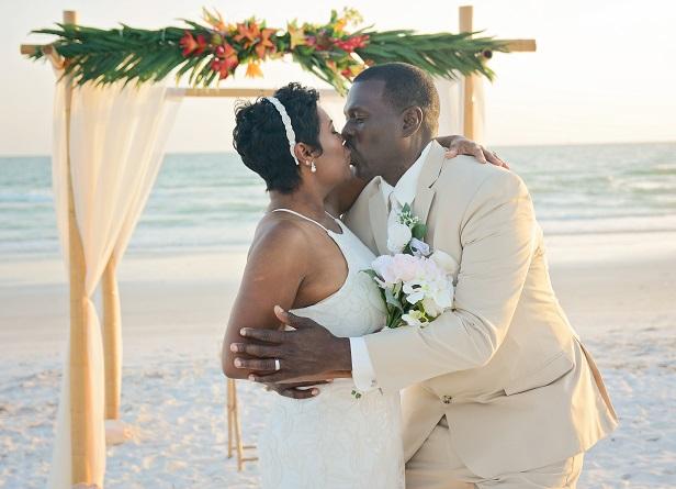 Treasure Island Wedding couple on the beach