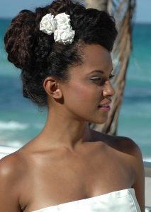 African American bride with flower in hair