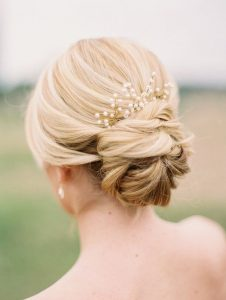 Bridal hair blond updo