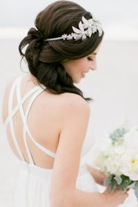 Brunette bride with flowers