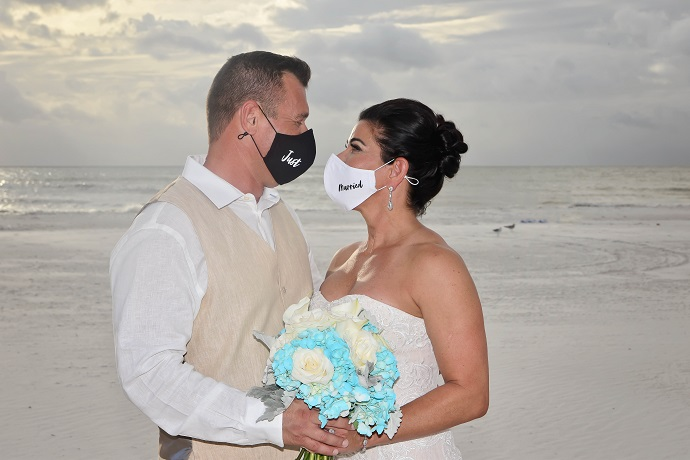 Bride and Groom in Covid Masks on Clearwater Beach