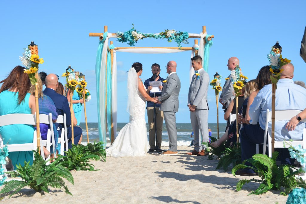 Beach wedding in clearwater with guests