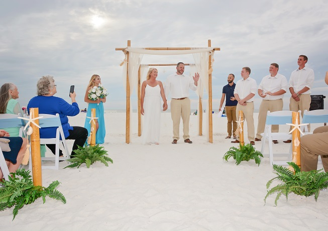 Clearwater Beach Weddings couple just married on the sand