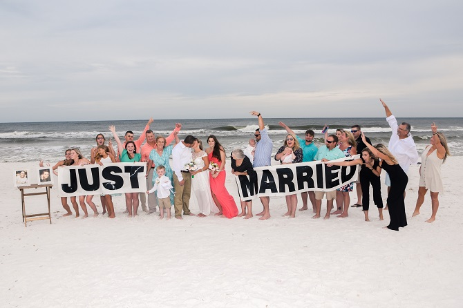 Wedding family and friends on Destin Beach, FL
