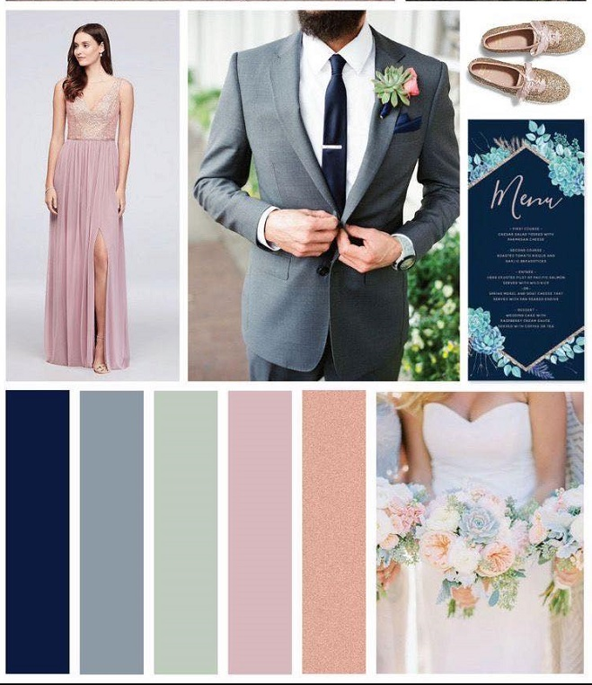 Beach wedding pastel colors