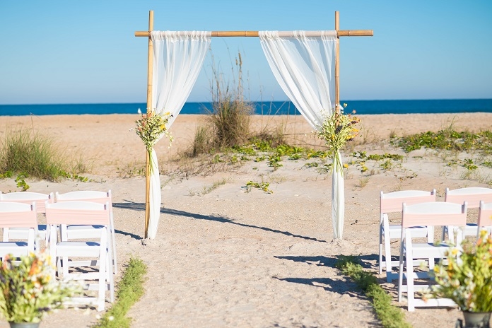 Wildflower Rustic Wedding arch on St. Augustine Beach