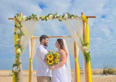 Bride and Groom St. Augustine with sunflowers