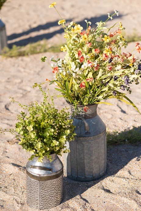 Wildflower Nautical Aisle Florals in Rustic Cans