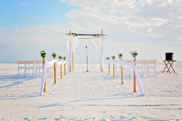 Siesta Key Natural Distinctive Design Wedding package setup on beach