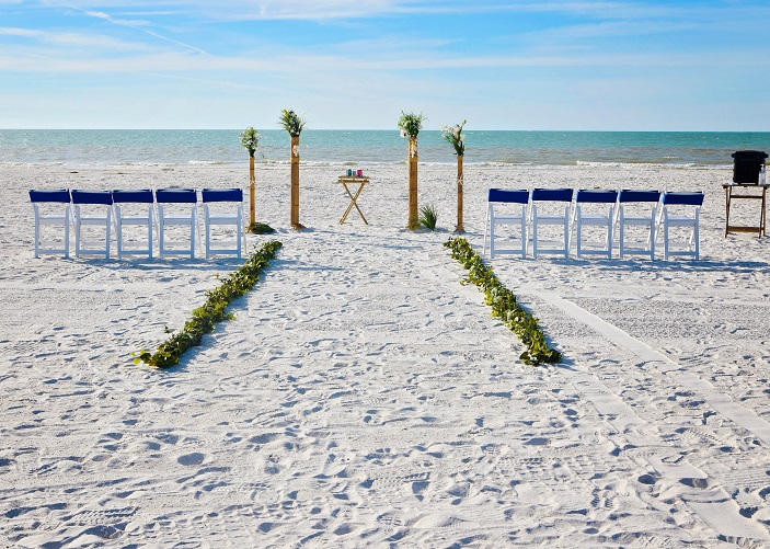 Bamboo Beach wedding setup on Clearwater Beach
