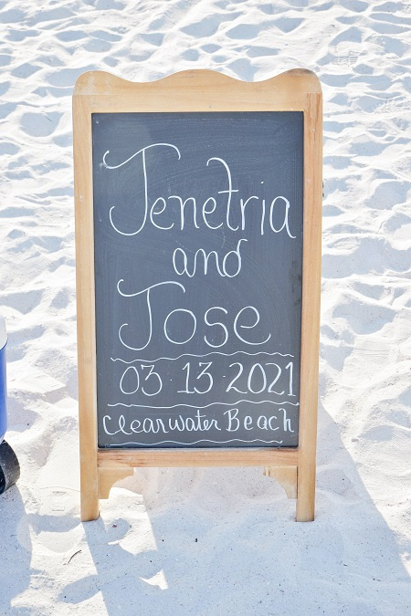 Wedding chalkboard sign Clearwater Beach