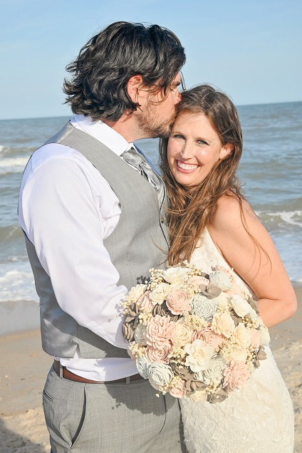 Bride and Groom after St. Augustine Beach wedding by ocean