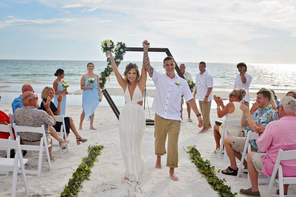 Geometric arch beach weddings in Florida